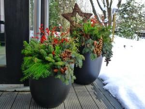 Pflanzkübel in der Adventszeit – Weihnachtliches Ambiente für wenig Geld