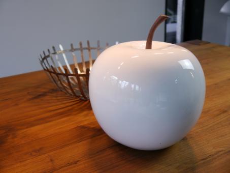 Deko-Apfel aus Fiberglas in Hochglanz weiß