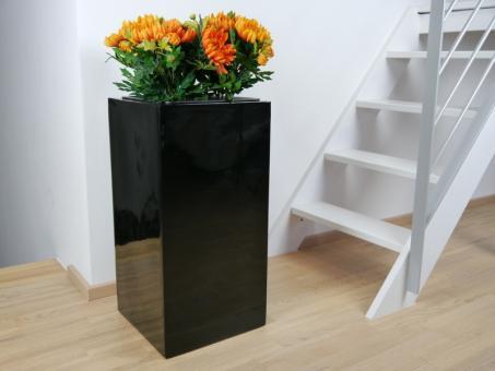 Pflanzkübel UP aus Fiberglas in Hochglanz schwarz