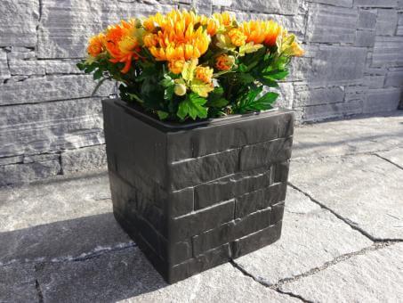 Blumenkübel WALL aus Fiberglas wie orig. Mauergestein in schwarz 30x30x30 cm