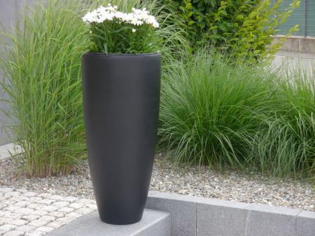 2er-SET Pflanzkübel CIGAR Ø30x H60cm aus Fiberglas in schwarz-anthrazit