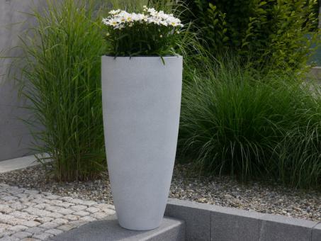 Pflanzkübel CIGAR aus Fiberglas in sandkörnig-grau