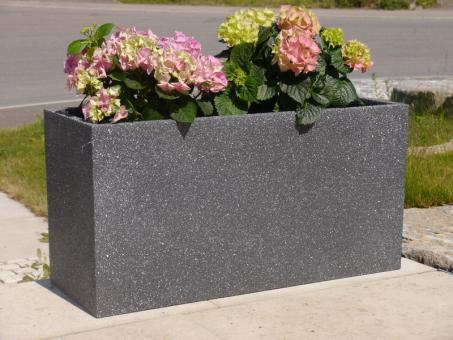 Pflanztrog aus Fiberglas, sandgestrahlt, anthrazit 80x30x40 cm