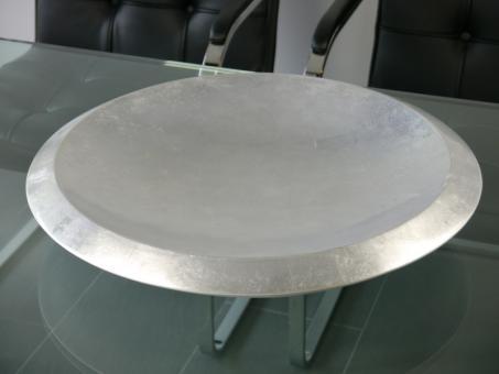 B-Ware: GALA - Dekoschale Fiberglas, D50 x H10cm, Hochglanz silber