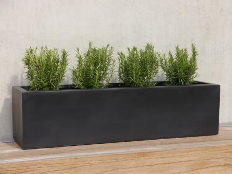 Pflanztrog FINO L100x B25x H25 cm aus Fiberglas in schwarz-anthrazit