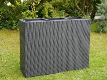 Raumteiler DELUXE L110x B40x H85 cm aus Polyrattan in schwarz inkl. 3x Einsätze
