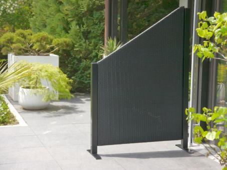 Paravent VISTO L112x T32x H100/160cm aus Polyrattan in schwarz