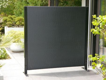 Paravent VISTO L160x T32x H160cm aus Polyrattan in schwarz