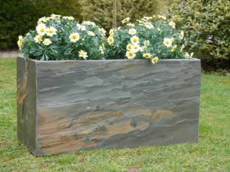 Pflanztrog STONE aus echtem Schiefer L80x B40x H40cm, 100% natur, rostfarben