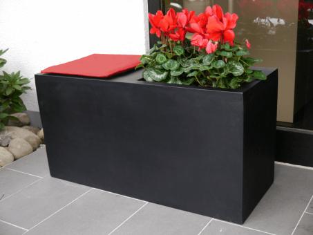 Sitzbank SIT L100 B40x H50cm mit Pflanztrog in schwarz-anthrazit