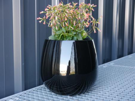 YORO - Pflanzkübel Blumenkübel Fiberglas, 21x21x19cm, handgefertigtes Unikat, exklusives Design, obsidian-schwarz