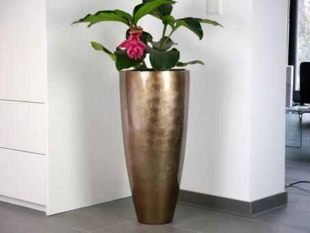 Blumenkübel ZAZA aus Fiberglas in Hochglanz bronze