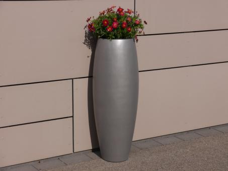 Pflanzkübel ZEN Ø37x100cm aus Fiberglas in grau-metallic