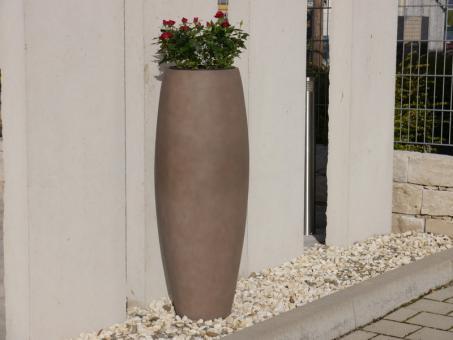 Pflanzkübel ZEN Ø37x100cm aus Fiberglas in terrabraun