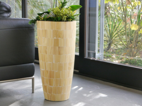 hoher Blumenkübel PINDO aus Pinienholz natur - Massivholz handgefertigt