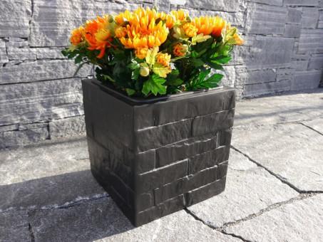 Blumenkübel WALL wie Mauergestein, schwarz-anthrazit 30x30x30 cm