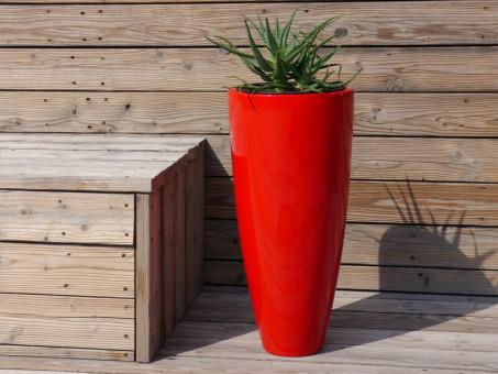 Blumenkübel CIGAR, Hochglanz rot