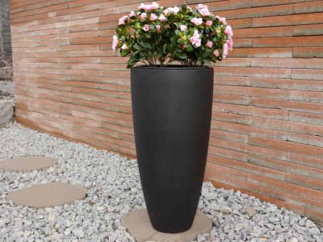 Pflanzkübel CIGAR aus Fiberglas in sandkörnig-schwarz
