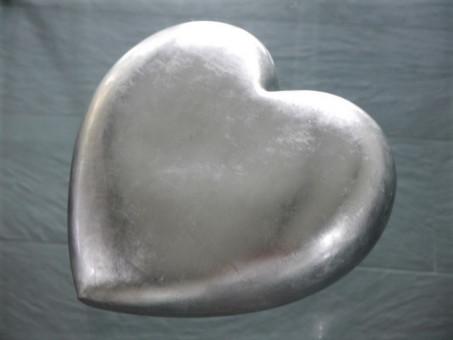 Deko-Herz in silber 30x30x17