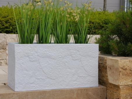 Pflanztrog BLOXX wie Naturstein, hellgrau 60x25x30