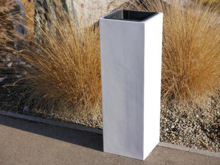 FERTIGSET: Pflanzkübel mit Einsatz, weiß 30x30x90 cm