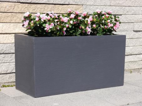 Pflanztröge aus Fiberglas mit Rillen in anthrazit 80x30x40 cm