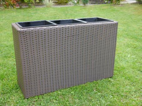 B-Ware Raumteiler DELUXE aus Polyrattan in mokka inkl. 3x Kunststoff-Einsätze