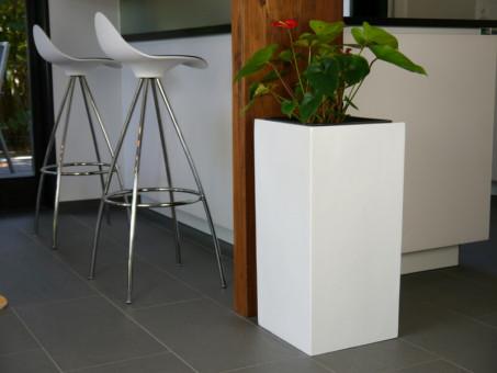 Pflanzkübel UP, Hochglanz weiß 30x30x60 cm