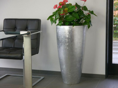 Blumenkübel ZAZA, Hochglanz silber Ø38x75 cm