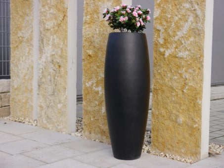Pflanzkübel ZEN aus Fiberglas in schwarz-anthrazit