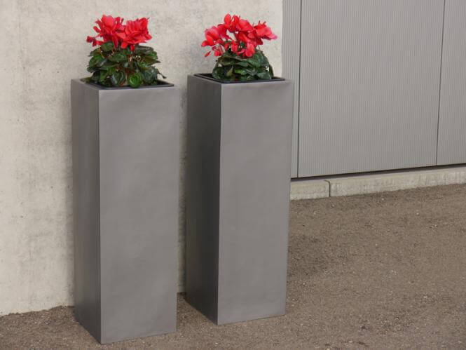 pflanzk bel 30x30x90cm fiberglas grau metallic g nstig. Black Bedroom Furniture Sets. Home Design Ideas