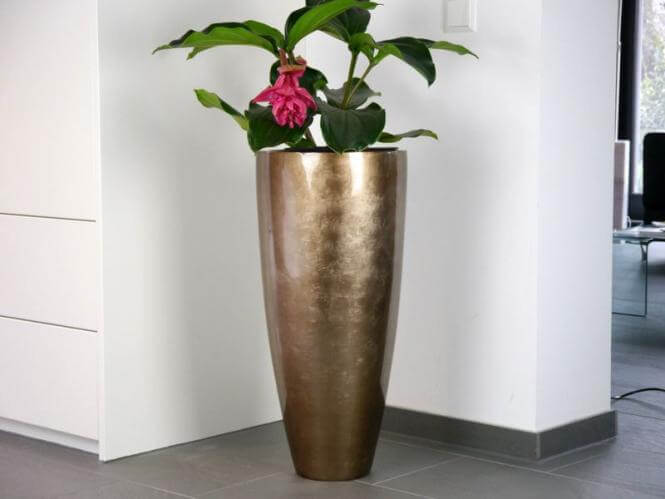 zaza blumenk bel pflanzk bel pflanzgef e fiberglas rund 38x38x75cm bronze g nstig online. Black Bedroom Furniture Sets. Home Design Ideas