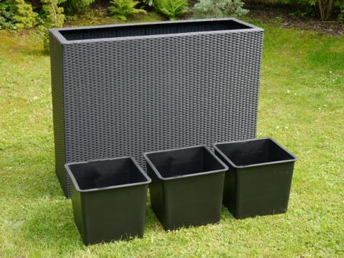 raumteiler deluxe pflanzk bel polyrattan 110x40x85cm schwarz 3x kunststoff eins tze g nstig. Black Bedroom Furniture Sets. Home Design Ideas