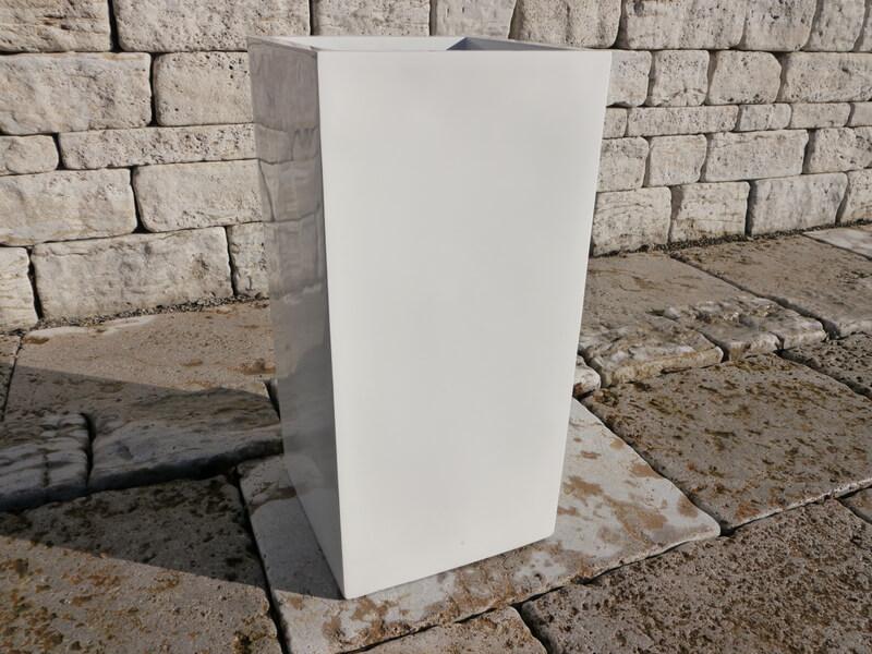pflanzk bel up aus fiberglas in hochglanz wei 30x30x60 cm. Black Bedroom Furniture Sets. Home Design Ideas