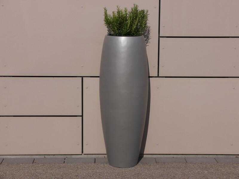 pflanzk bel zen 37x100cm aus fiberglas in grau metallic bei east west trading. Black Bedroom Furniture Sets. Home Design Ideas